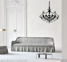 Chandalier Gloss Wall Art Sticker Decal Chic Luxury Stunning Black
